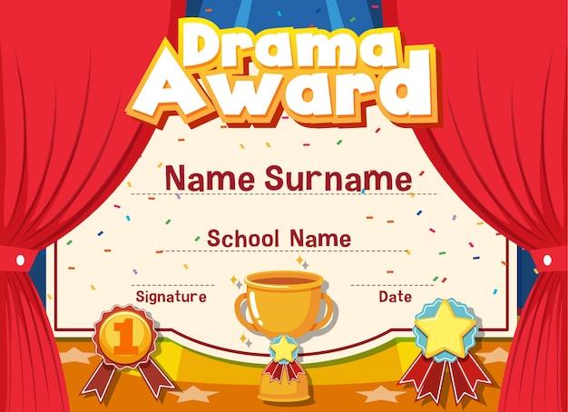 Certificato per il premio drammatico con palcoscenico