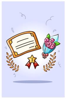 Certificato, bouquet di fiori e medaglia