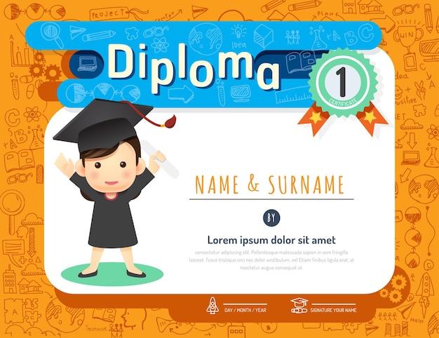Certificato bambini diploma, asilo modello layout doodle schizzo idea sfondo cornice disegno vettoriale. educazione prescolare concetto stile arte piatta