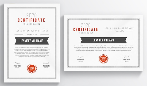 Layout certificato con accenti rossi