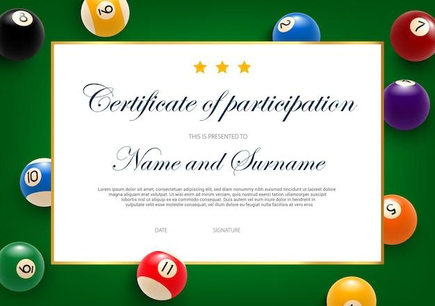 Certificato di partecipazione al torneo di biliardo, modello di diploma con palline su panno verde.