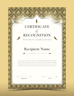 Certificato di modello di riconoscimento con bordo modello tailandese tradizionale oro