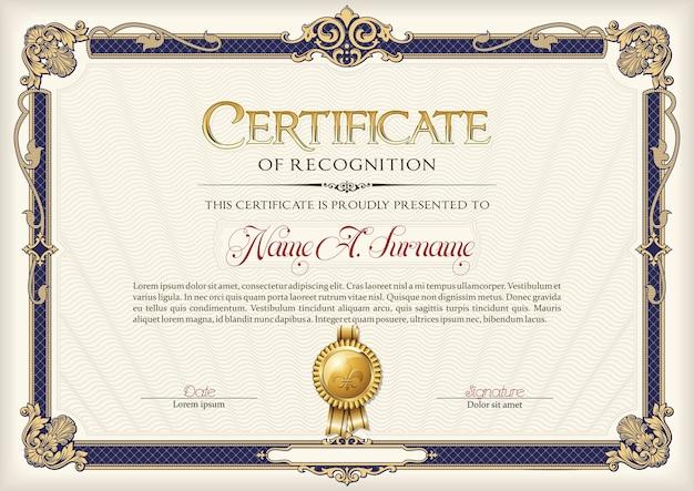 Certificato di riconoscimento vintage frame.