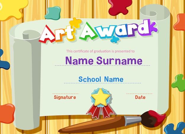 Modello di certificato per il premio d'arte con vernici e pennello