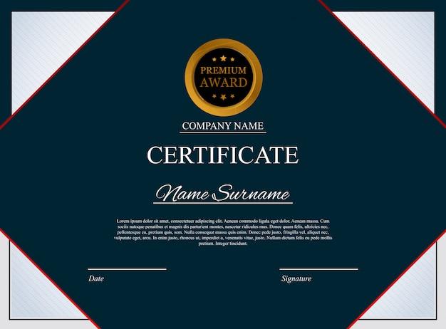 Modello di certificato design in bianco del diploma del premio
