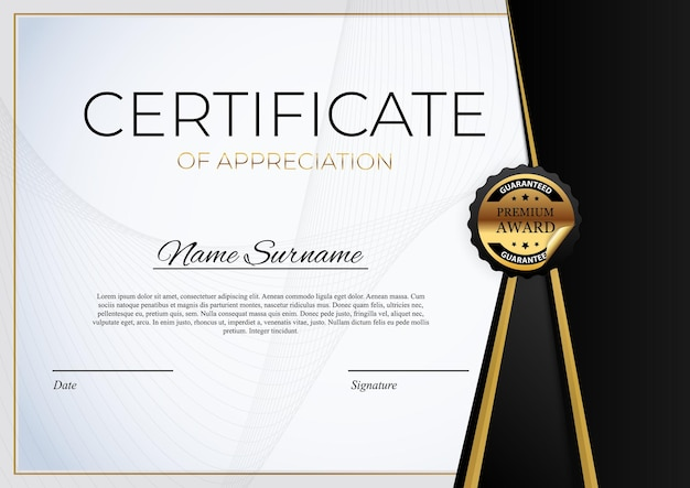 Modello di certificato. premio diploma design