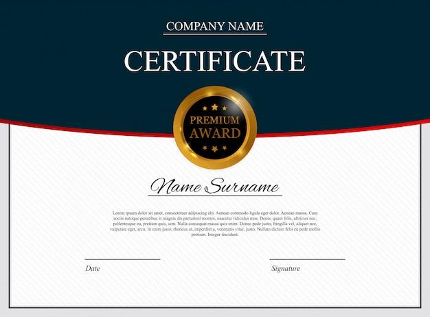 Modello di certificato sullo sfondo. diploma di riconoscimento vuoto.