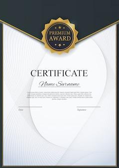 Modello di certificato sullo sfondo. diploma di design design vuoto.