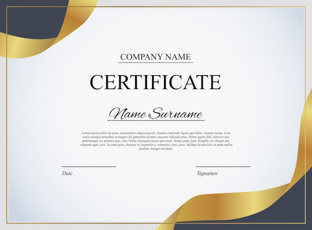 Modello di certificato sullo sfondo