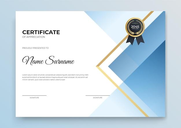 Banner modello di certificato con forma geometrica astratta per modello di stampa con onda dorata e bianco pulito moderno