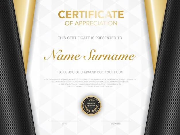 Modello di certificato nero e oro con immagine di stile di lusso diploma di design moderno geometrico