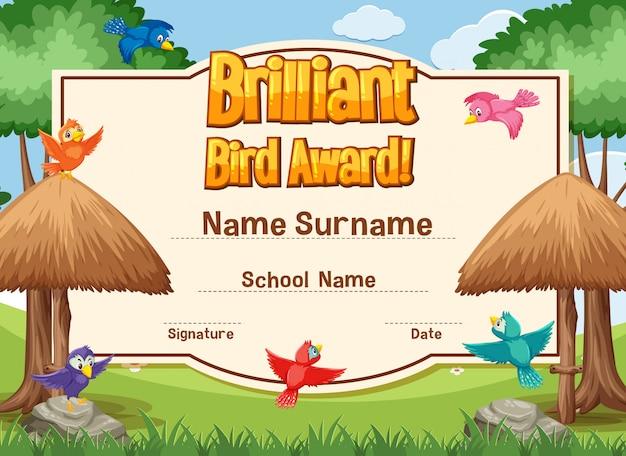 Modello di certificato per premio uccello brillante con uccelli che volano