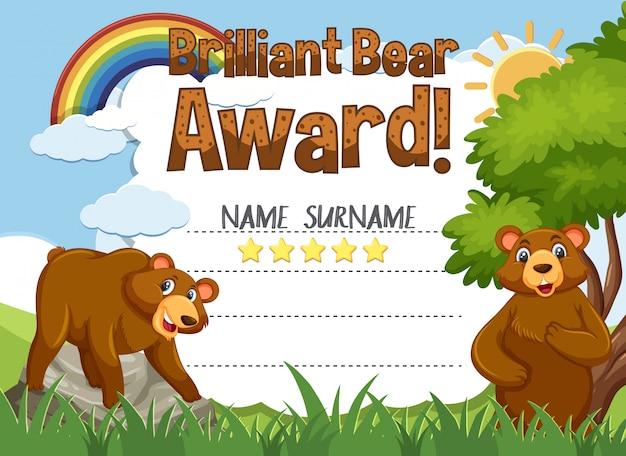 Modello di certificato per premio orso brillante con orsi