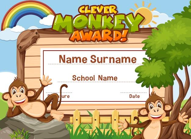 Modello di certificato design per premio scimmia intelligente con due scimmie in background