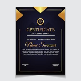 Modello di certificato di design con forme moderne di lusso in oro