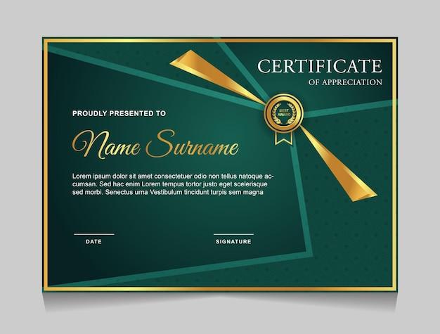 Design del modello di certificato con forme moderne di lusso in oro