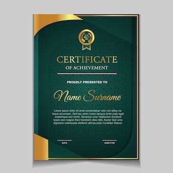 Design del modello di certificato con forme moderne verdi e lussuose