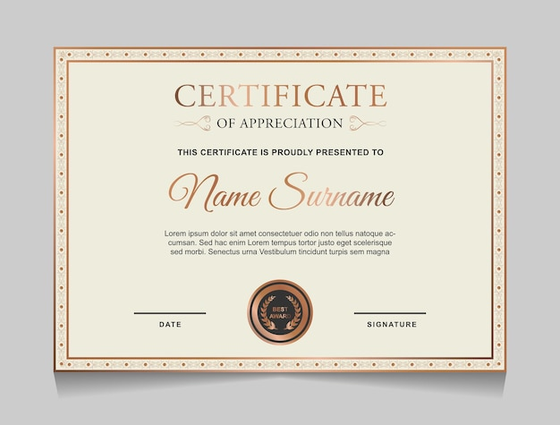 Disegno del modello di certificato con bordo in oro di lusso e forme vintage di colore grigio