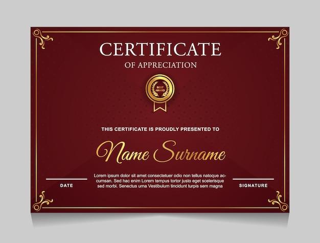 Modello di certificato di design con bordo in oro di lusso e forme moderne di colore rosso
