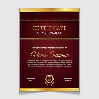 Disegno del modello di certificato con forme moderne di lusso di colore rosso e oro