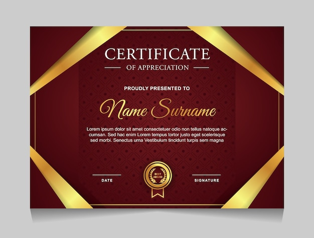 Modello di certificato di design con forme moderne di lusso