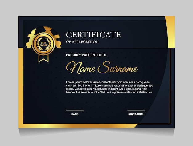 Modello di certificato di design con forme moderne di lusso blu navy e oro