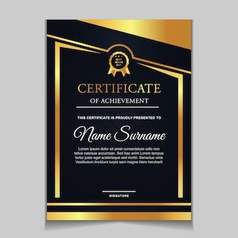 Modello di certificato di design con blu navy e forme moderne di lusso