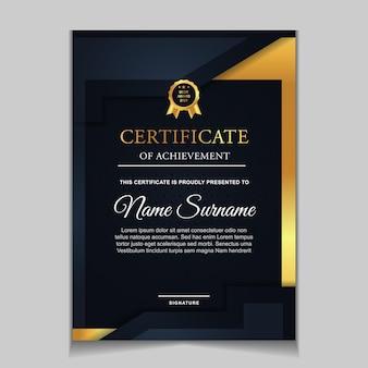 Design del modello di certificato con forme moderne blu navy e di lusso