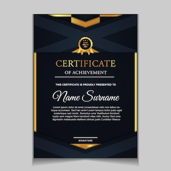 Modello di certificato di design con forme moderne blu navy e di lusso