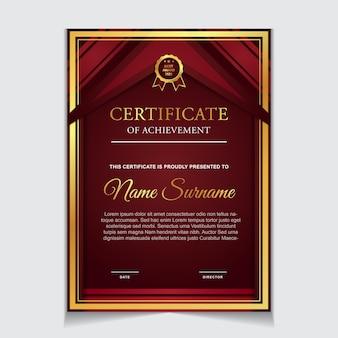 Design del modello di certificato con forme moderne rosse e lussuose