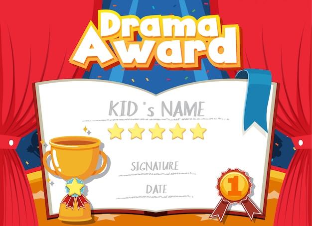 Modello di certificato per il premio drammatico con palcoscenico in background