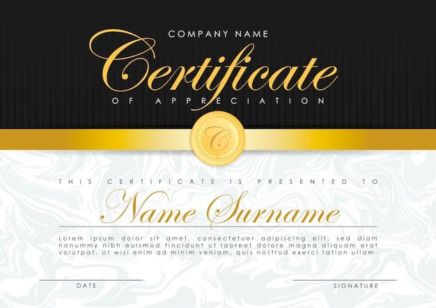 Modello di certificato in eleganti colori blu scuro con medaglia d'oro modello di progettazione diploma certificato di apprezzamento