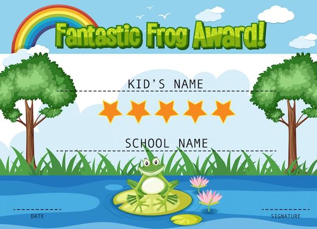 Modello di certificato per un fantastico premio con le rane nello stagno