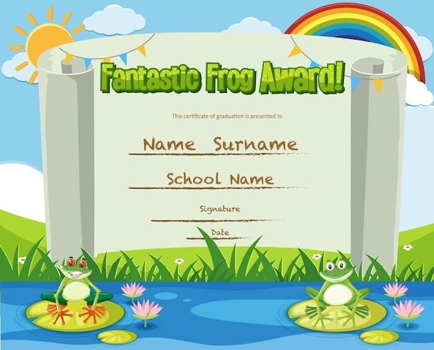 Modello di certificato per un fantastico premio con le rane