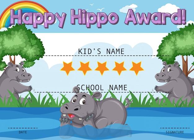 Modello di certificato per il premio felice con l'ippopotamo