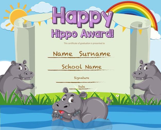 Modello di certificato per il premio ippopotamo felice