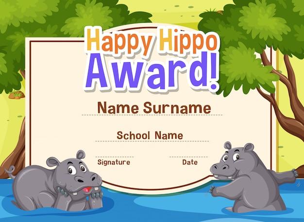 Modello di certificato per ippopotamo felice con ippopotami