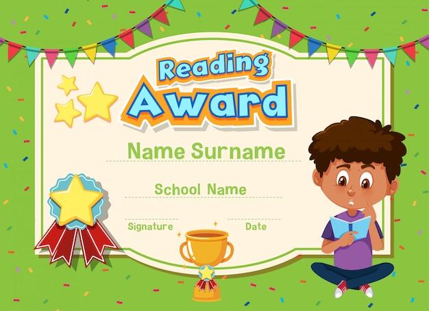 Modello di certificato per la lettura del premio con libri di lettura per bambini in background