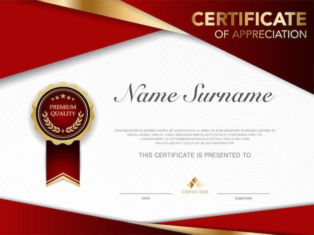 Modello di certificato immagine stile lusso rosso e oro diploma di design moderno geometrico vettore