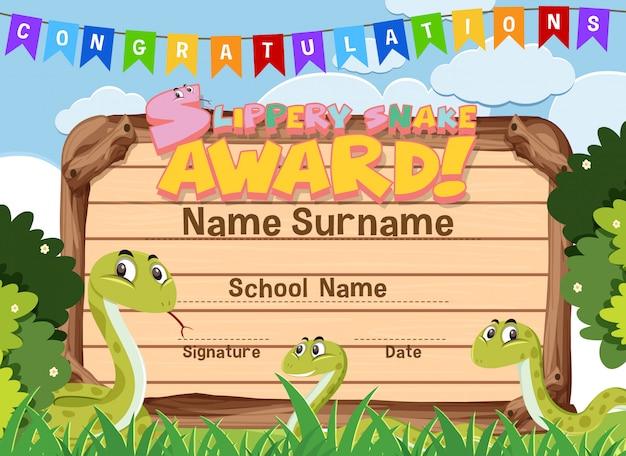 Modello di certificato per il premio serpente scivoloso con serpenti in background