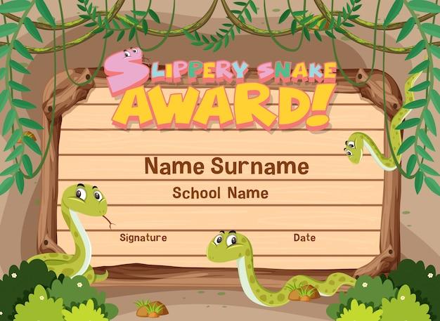 Modello di certificato per il premio serpente scivoloso con serpenti