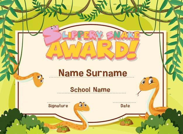 Modello di certificato per il premio serpente scivoloso