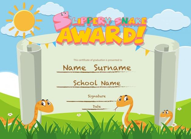 Modello di certificato per il premio serpente pungente con serpenti