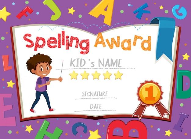 Modello di certificato per il premio di ortografia con alfabeti