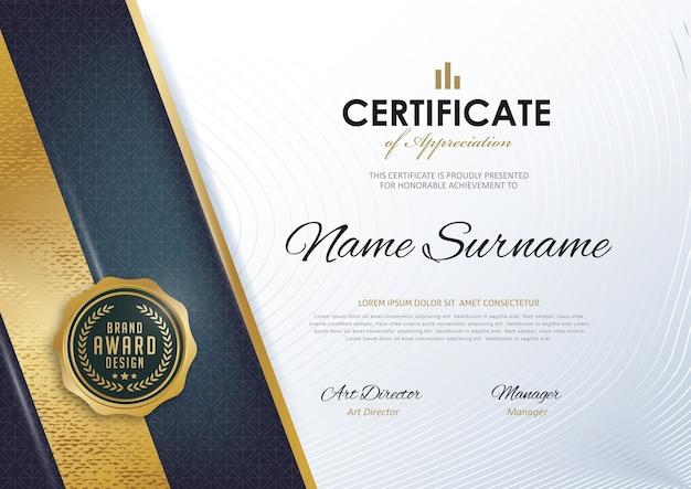 Modello di certificato con motivo pulito e moderno,
