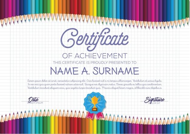 Modello di certificato con cornice a matita colorata per bambini