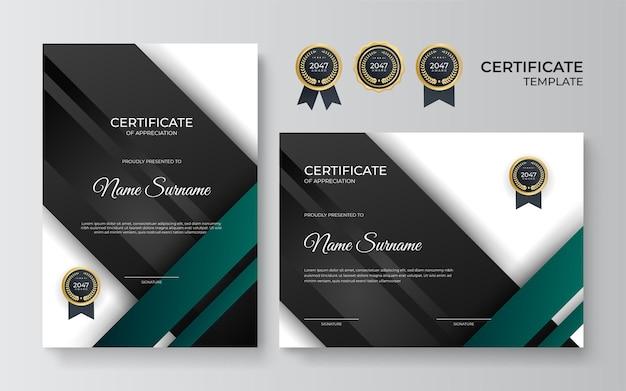 Modello di certificato con forme geometriche dinamiche e futuristiche e sfondo moderno in colore nero e verde