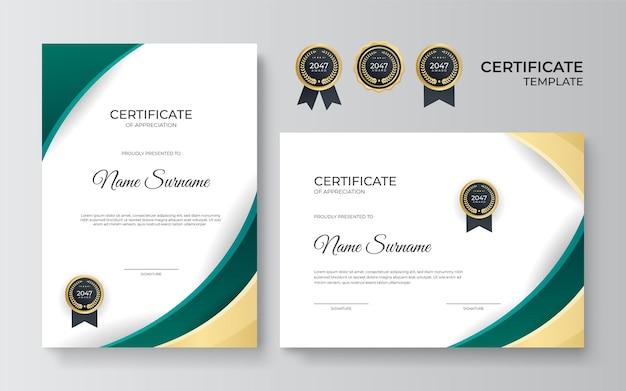 Modello di certificato con forme geometriche dinamiche e futuristiche e sfondo moderno. distintivi d'oro ed elementi astratti verdi. decorazione ondulata oro e verde