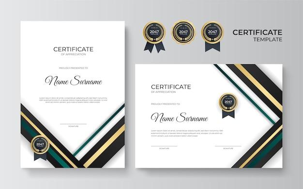 Modello di certificato con forme geometriche dinamiche e futuristiche e sfondo moderno