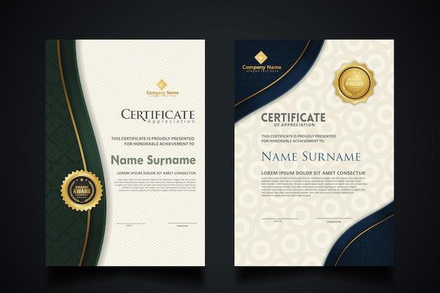 Modello di certificato con elegante cornice angolare e modello di trama realistica di lusso, diploma e design di badge premium. illustrazione vettoriale